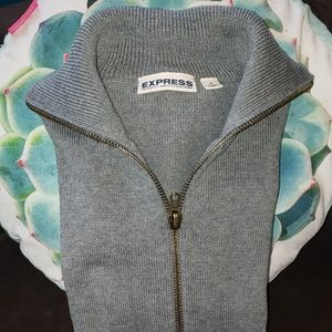 Express two-way zippered sweater in gray